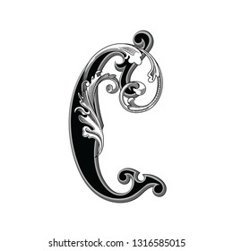 Vector illustration of uppercase ancient letter C with decorations isolated on white background.Antique Letter with baroque ornamentation. Elegant black capital letter to use monograms, logos,emblems