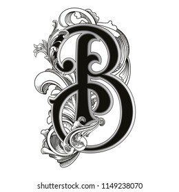 Vector illustration of uppercase letter B with decorations isolated on white background.Antique Letter with baroque ornamentation. Elegant black capital letter to use monograms, logos,emblems