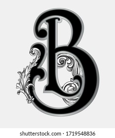 Vector illustration of uppercase letter B with decorations isolated on white background.Antique Letter B with baroque ornamentation. Elegant black capital letter to use monograms, logos,emblems, fonts