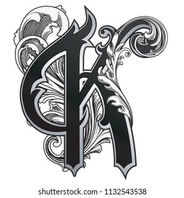 Vector illustration of uppercase letter with decorations isolated on white background.Elegant  antique Letter K with baroque ornamentation. Elegant black capital letter to use monograms, logos,emblems