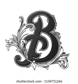 Vector illustration of uppercase letter with decorations isolated on white background.Elegant  antique Letter B with baroque ornamentation. Elegant black capital letter to use monograms, logos,emblems