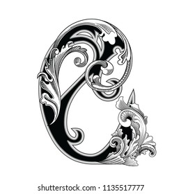 Vector illustration of uppercase letter with decorations isolated on white background.Elegant antique Letter C with baroque ornamentation.Elegant black capital letter to use monograms, logos,emblem