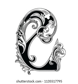 Vector illustration of uppercase letter with decorations isolated on white background.Elegant antique Letter with baroque ornamentation.Elegant black capital letter to use monograms, logos,emblem