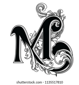 Vector illustration of uppercase letter with decorations isolated on white background.Elegant antique Letter M with baroque ornamentation.Elegant black capital letter to use monograms, logos,emblem