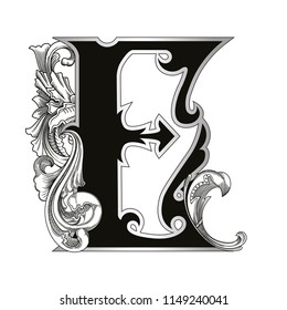 Vector illustration of uppercase letter with decorations isolated on white background.Antique Letter E with baroque ornamentation. Elegant black capital letter to use monograms, logos,emblems