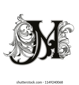 Vector illustration of uppercase letter with decorations isolated on white background.Antique Letter M with baroque ornamentation. Elegant black capital letter to use monograms, logos,emblems