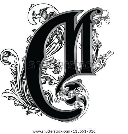 dd74a92843 Vector illustration of uppercase letter with decorations isolated on white  background.Elegant antique Letter M