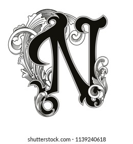 Vector illustration of uppercase letter N with decorations isolated on white background.Elegant  antique Letter with baroque ornamentation. Elegant black capital letter to use monograms, logos,emblems
