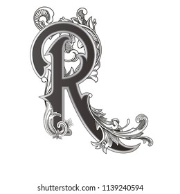 Vector illustration of uppercase letter R with decorations isolated on white background.Elegant  antique Letter with baroque ornamentation. Elegant black capital letter to use monograms, logos,emblems