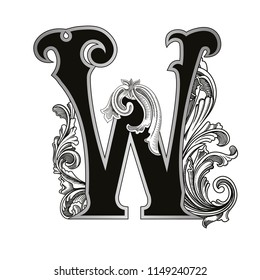 Vector illustration of uppercase letter W  with decorations isolated on white background.Antique Letter with baroque ornamentation. Elegant black capital letter to use monograms, logos,emblems