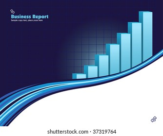 vector illustration of a upward direction graph on a blue business background