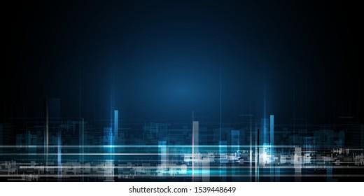Vektorgrafik urbane Architektur, Stadtlandschaft mit Raum und Neonlicht-Effekt. Modernes High-Tech-, Wissenschafts-, Futuristik- und Technologiekonzept. Abstraktes digitales Hightech-Stadtdesign auf Bannerhintergrund
