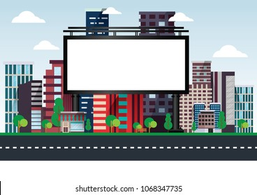 Vector illustration of urban billboards with city street skyscrapers buildings