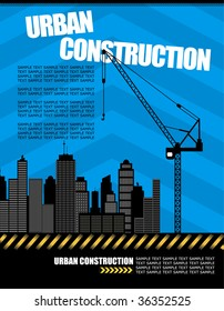 vector illustration of urban construction with copy space