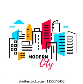 Vector illustration of urban landscape with building and skyscraper on white background. Real estate and construction industry linear concept. Flat line art style design for web, site, banner, poster