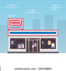 Vector illustration of urban minimarket building