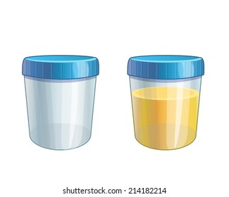 Vector illustration of urine sample, full and empty container