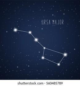 Vector illustration of Ursa Major constellation on the background of starry sky