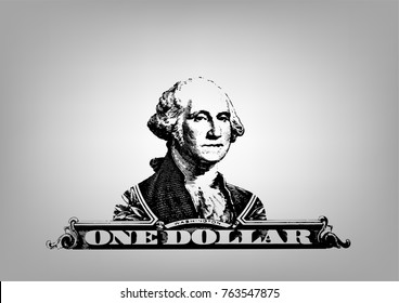 Vector Illustration of the US president George Washington portrait on the one dollar united states money on white background.