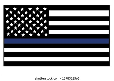 Vector illustration of USA black and white flat flag with a thin blue line in honour of law enforcement officers. Law enforcement officers lives matter symbol.