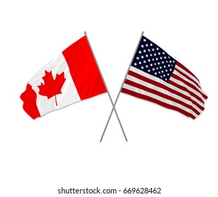 Vector illustration of USA and Canada crossed waving flags and sign or icon of cooperation or globalization of two countries