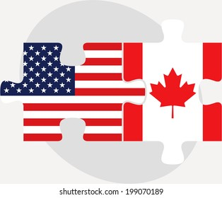 Vector illustration of USA and Canada Flags in puzzle isolated on white background