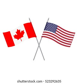 Vector illustration of USA and Canada flags. Two little American and Canadian triangle flag on flagpole