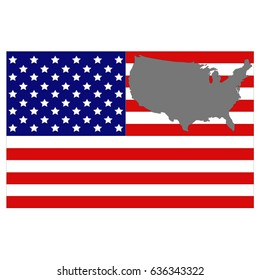 vector illustration of USA flag and map