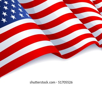 Vector illustration - USA flag in white background