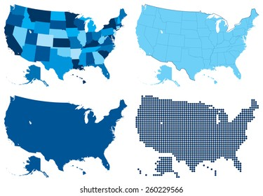 Vector illustration of USA four different blue maps. Global colors used.