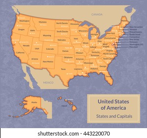 State Capitals Map Images, Stock Photos & Vectors | Shutterstock