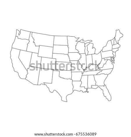 Vector Illustration USA Map States Territories Stock Vector (Royalty ...