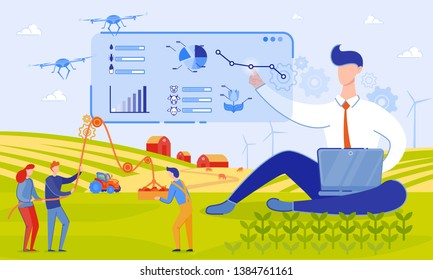 Vector Illustration use Drones on Farm Cartoon. Drones will Bring many Benefits to Farmers. Data Obtained with Help Drones Make it Possible to Assess State Agricultural Crops, Flat.