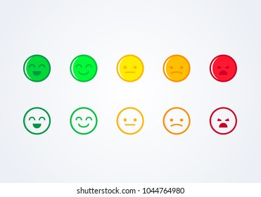 vector illustration user experience feedback concept different mood smiley emoticons emoji icon positive, neutral and negative.