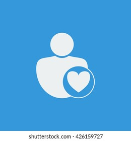 Vector illustration of user heart sign icon on blue background.