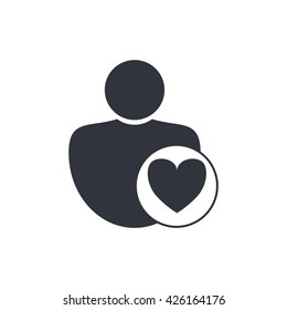 Vector illustration of user heart sign icon on white background.