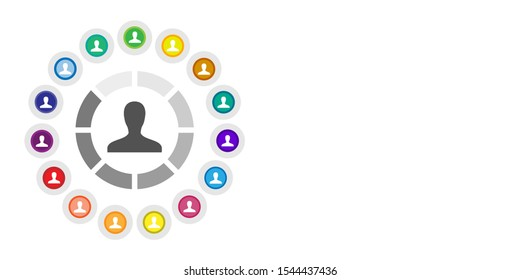 vector illustration for user profile and loading bar with other people symbols for multiple accounts concept