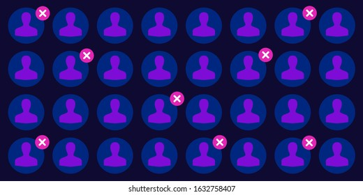 vector illustration of user profile pictures and red cross blocking symbols in dark blue color palette