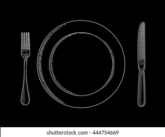 Vector illustration of utensils. Cutlery painted in the technique of engraving. Fork, knife and a plate. Tableware.