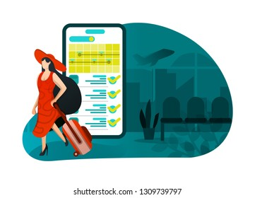 vector illustration of vacation 4.0, ticket booking application. hat girl leaving for week. smartphone app with recommendation, detail and price , cheap and expensive holiday. flat cartoon character