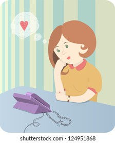 Vector illustration for Valentine day. Lonely girl, sitting at the table and hopefully waiting for a call from her beloved. EPS 10