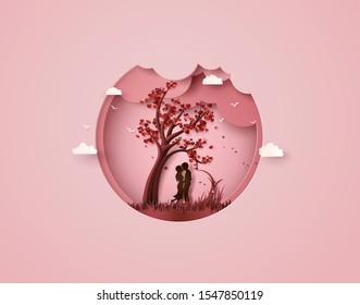 Vector illustration of Valentine day man and woman under a love tree, paper cut style.