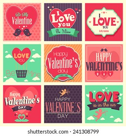A vector illustration of  Valentines day cards with ornament