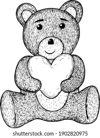Vector illustration of Valentine's Day. Cartoon teddy bear with heart in strokes.