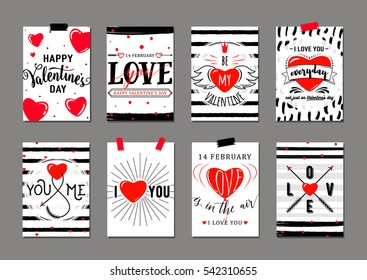 Vector illustration of valentines day greeting card templates with typography text signs, red hearts, arrows, love you inspirational quote. Romantic labels or posters
