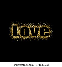 Vector illustration Valentine's Day greeting card gold design with typography on black background