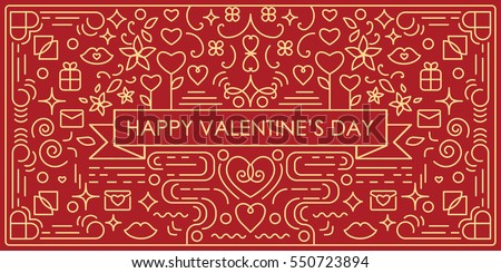 Vector illustration valentines day greeting card stock vector vector illustration of valentines day greeting card with single weight line art swirls and decorative elements m4hsunfo