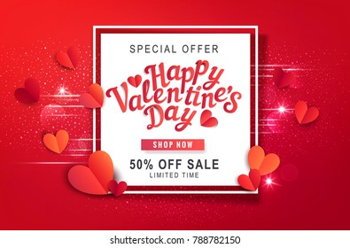Vector illustration for Valentine's Day. Hearts carved from paper and text in white frame. Template for promotion, discount banner, online store, discount salesgreeting card for the Day of All Lovers.