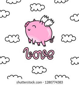 Vector illustration for Valentine's day. Loving pink pig with wings, flying in the clouds. Hand-drawn style. Cartoon style.