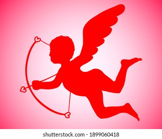 Vector illustration for Valentine's Day. Red Isolated Flying Cupid with Bow